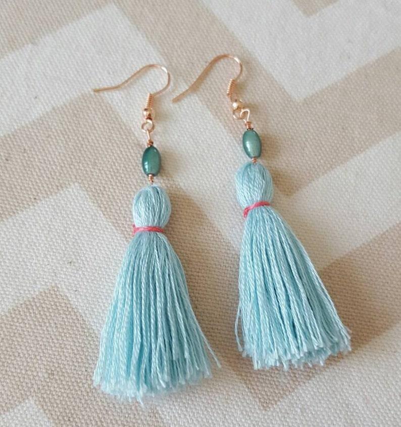 Sea Foam Blue and Coral Tassel Earrings with Sea Foam Bead image 0