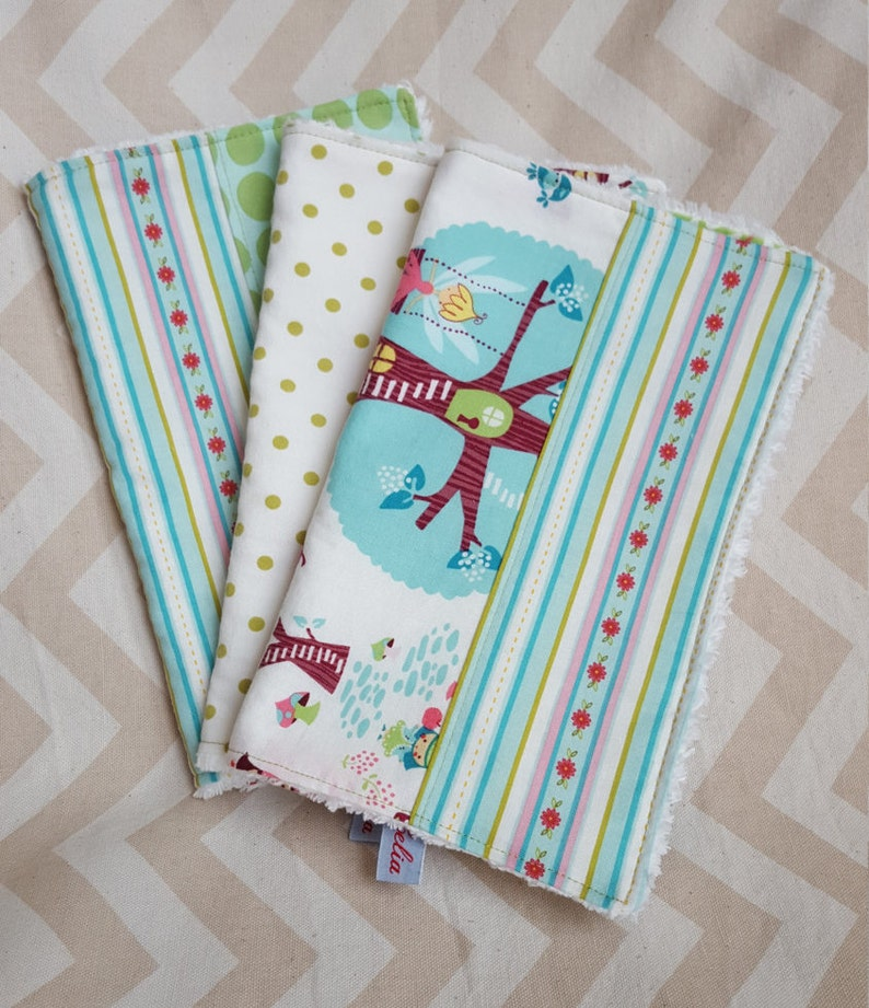 Woodland Fairies Burp Cloth  can be monogrammed  Set of image 0