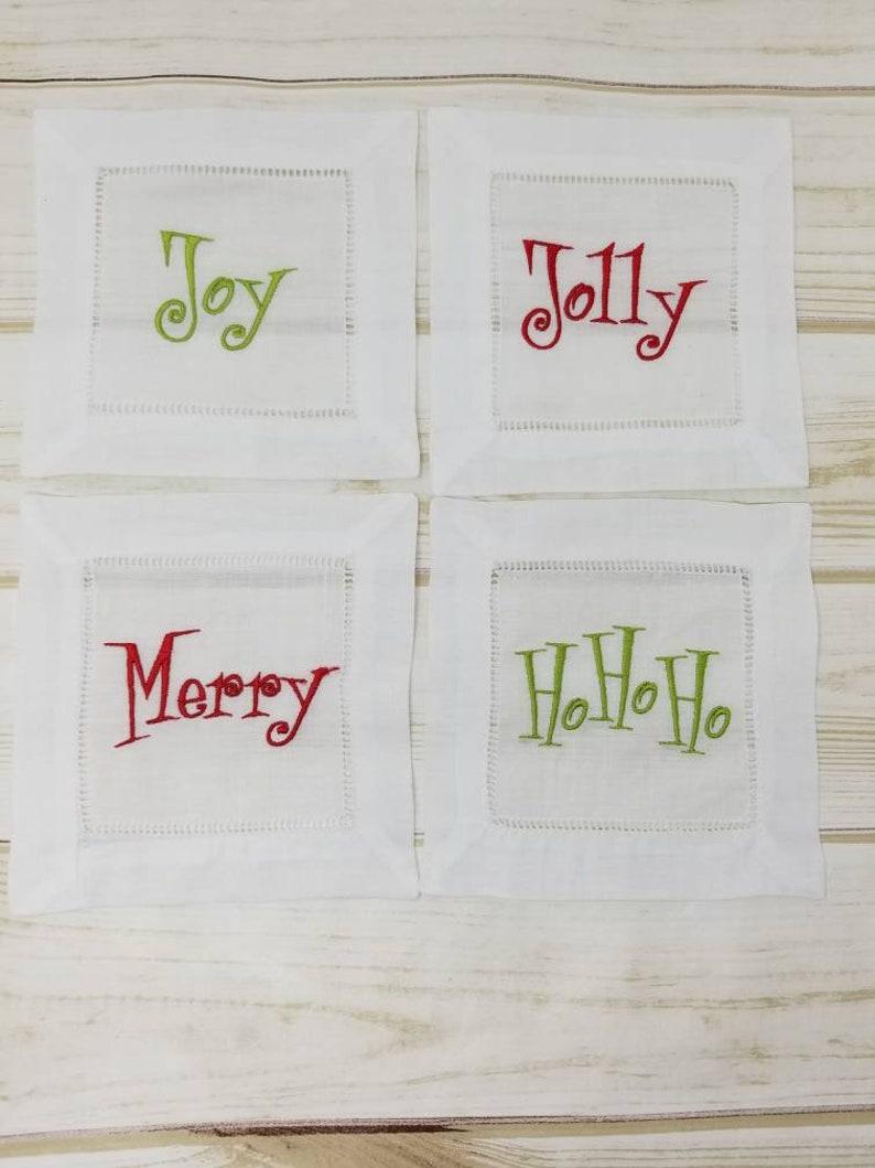 Classic Christmas Holiday Embroidered Cocktail Napkins  Set image 0