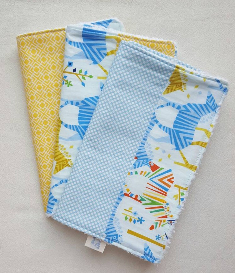 Colorful Zebra Burp Cloths  can be monogrammed  Set of Three image 0