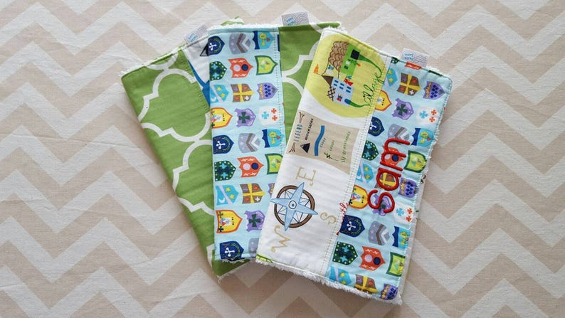 Fairytale / Knights Map Burp Cloths  can be personalized  image 0