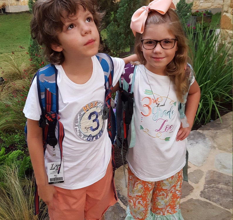 Personalized Grade Level Shirts  First and Last Day of School image 0