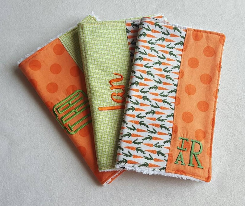 Carrot Burp Cloths  can be monogrammed  Set of Three image 0