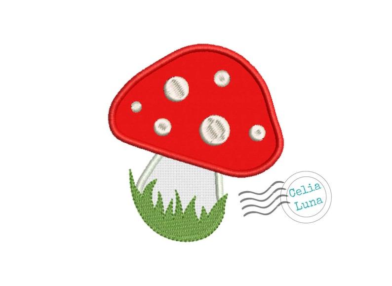 Toadstool / Mushroom Applique Embroidery Design 4x4 5x7 image 0