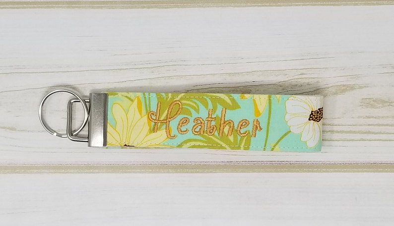 Yellow Aqua Floral Personalized / Monogrammed Wristlet Key image 0