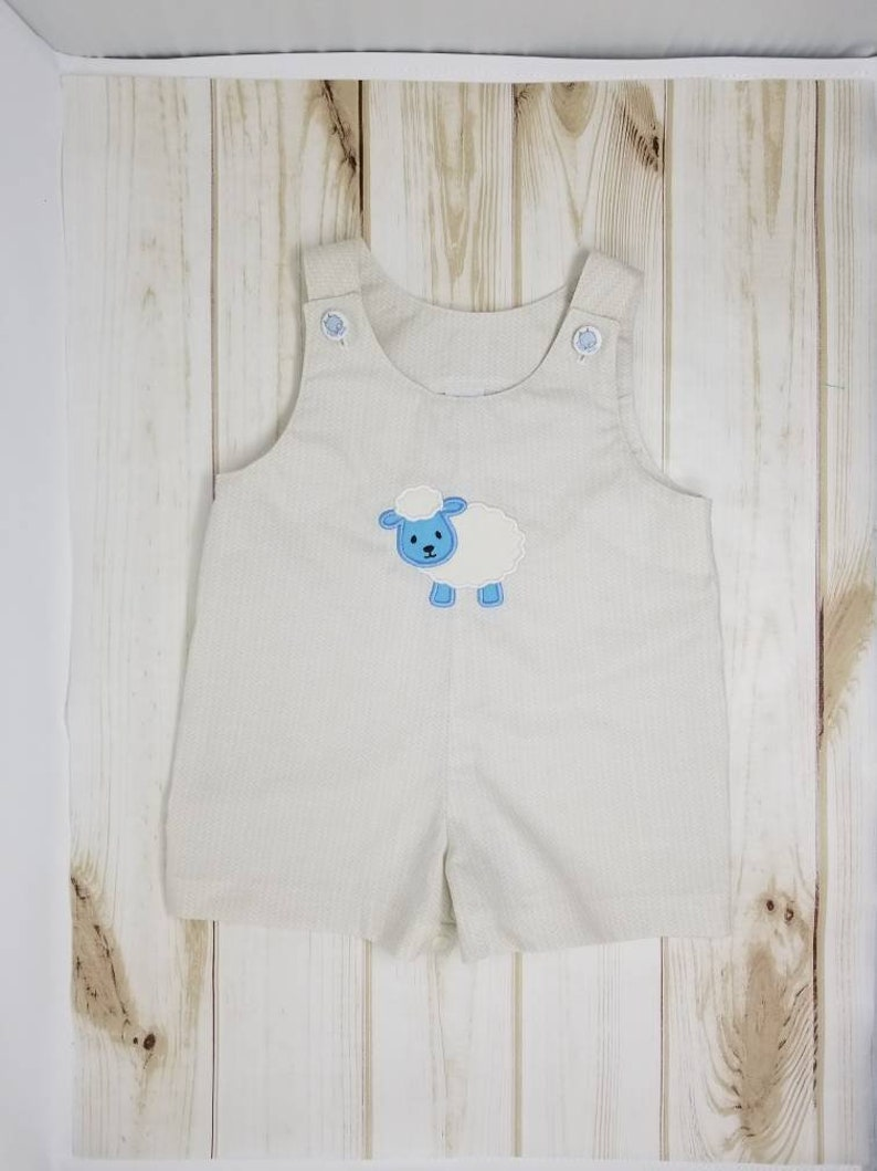 Easter Lamb Baby Romper/ Jumpsuit  12M 1T  can also make 2T image 0
