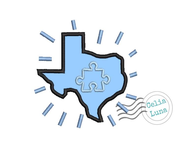 Autism Texas Blue Applique Machine Embroidery Design 4x4 5x7 image 0