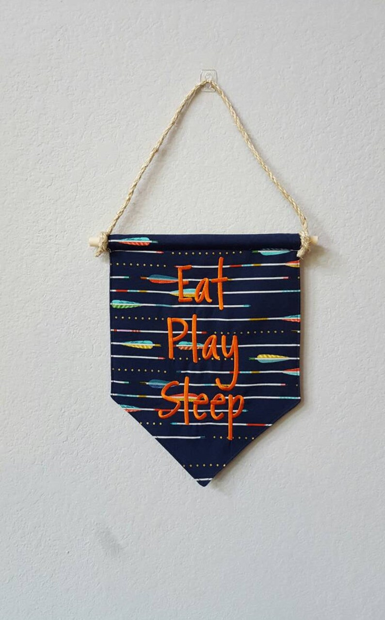Eat Play Sleep Embroidered Flag / Banner / Pennant / Bunting image 0