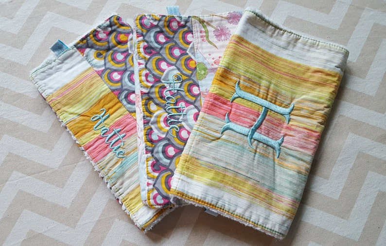Watercolor Forest Burp Cloths  can be personalized  Set of image 0