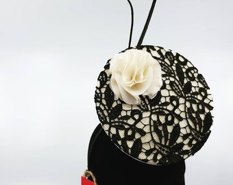 Beige and black lace 3D percher hat / headpiece / fascinator / hat, ideal for the races inc. Melbourne Cup or Fashions on the Field entrants