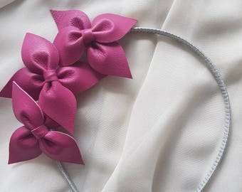 Hot pink genuine leather side flower crown / headband / fascinator, ideal for a bride / bridesmaid / flower girl, or the races