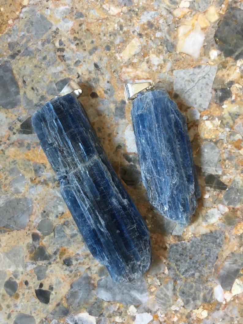Black Kyanite Pendant Rough Kyanite Blade Gemstone Specimen Reiki Chakra Crystal