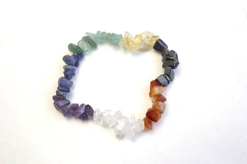 Elasticated Stretch Stacking Reiki Healing Stone Gift Idea Chakra Multicoloured Gemstone Chip Bead Bracelet