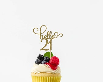 Food Topper Donut Topper 21 Birthday Party 21st Birthday Topper 21 Anniversary Age 21 Cupcake Topper Glitter Cupcake Topper