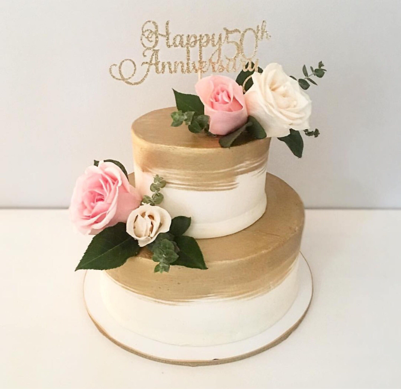 Happy 50th Anniversary Cake Topper Gold Silver Cake Topper