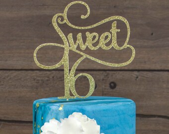 Sweet 16 Cake Topper, sweet 16 birthday decorations, birthday cake topper, girl birthday party, Birthday Cake Topper, Sweet Sixteen
