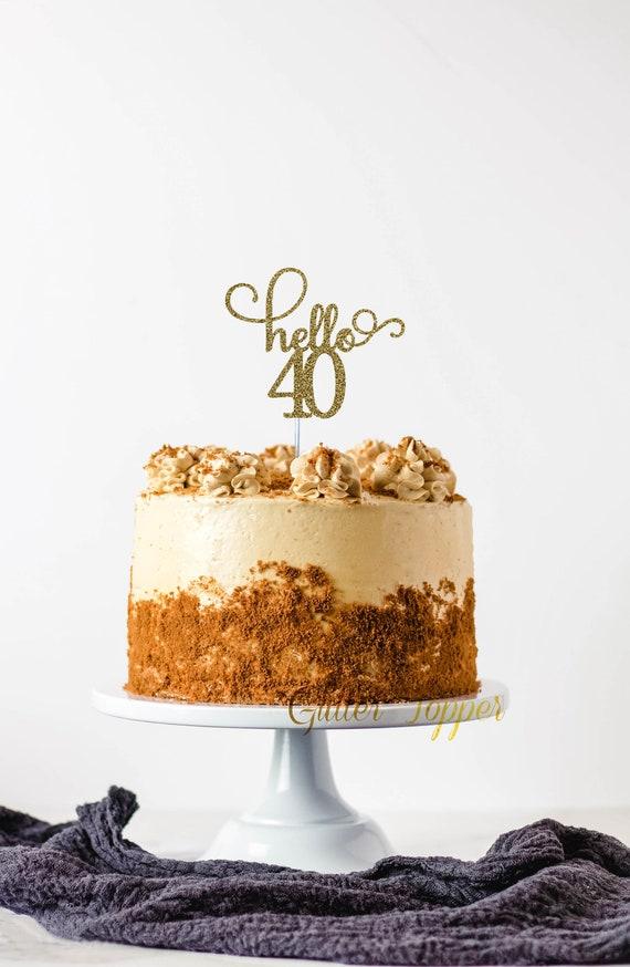 Bonjour quarante Inspiré personnalisé Paillettes Carte Birthday Cake Topper 30 40 50 Gin