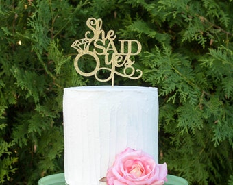 She Said Yes Cake Topper, engagement cake topper, wedding cake topper, bridal shower cake topper,  gold glitter topper, bride to be