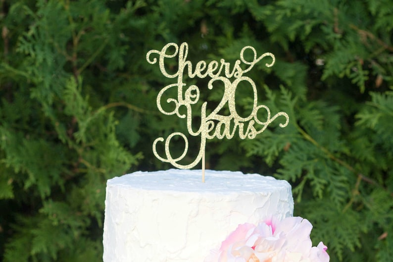 Cheers To 20 Years 20th Birthday Cake Topper Dirty