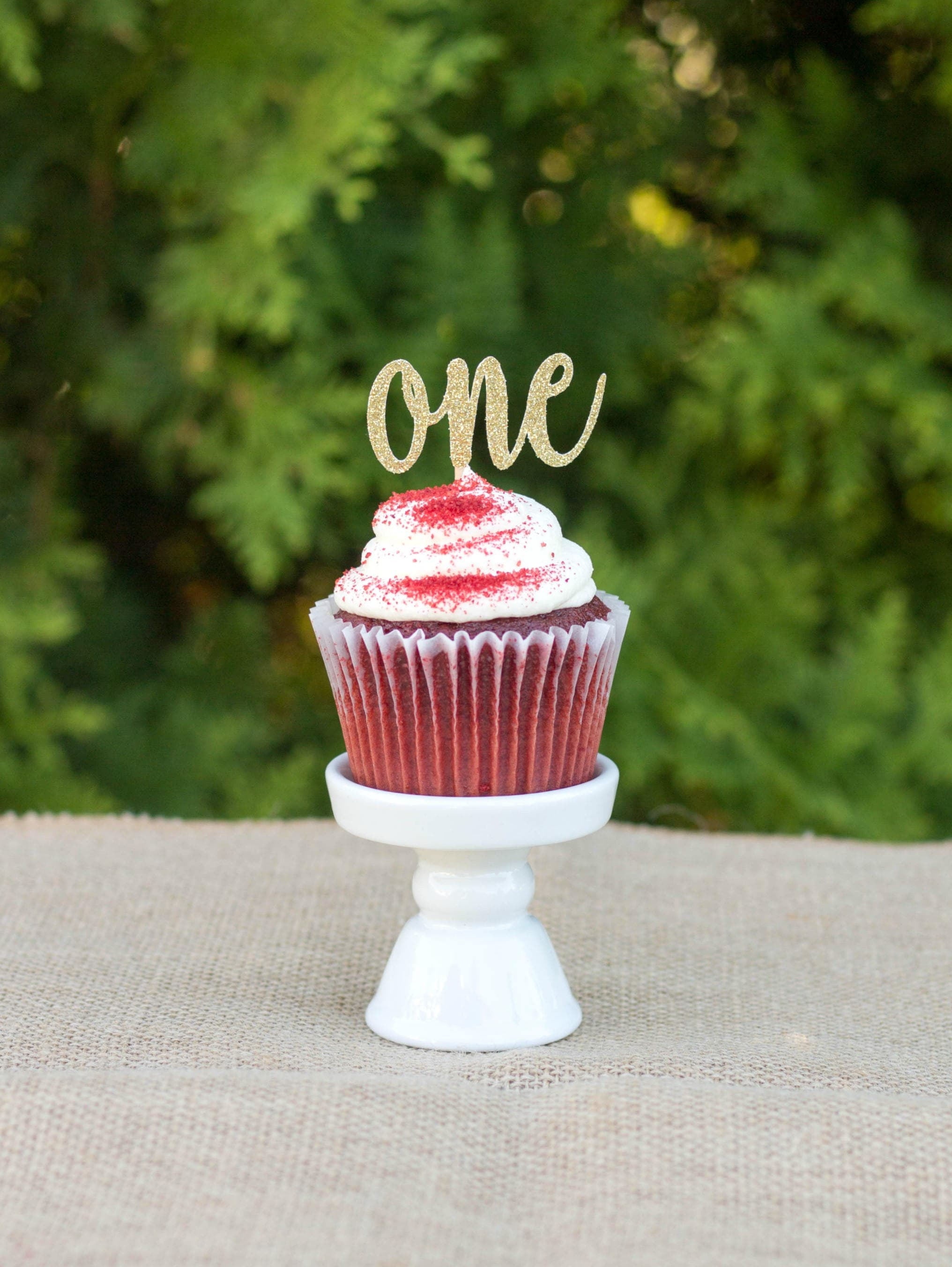 One Cupcake Topper First Birthday Happy
