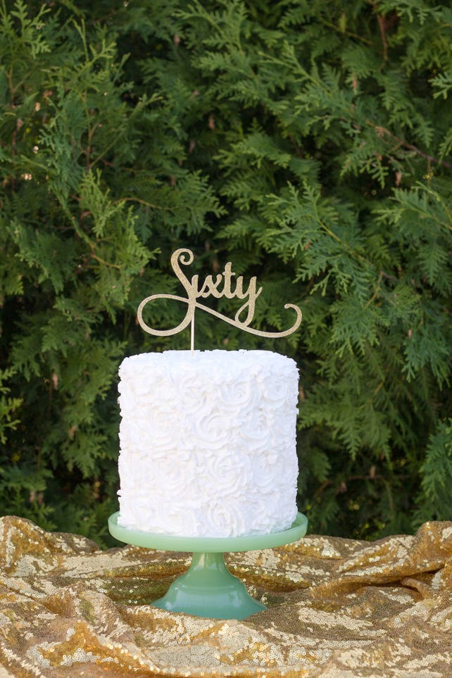 60th Birthday Cake Topper Dirty Sixty Anniversary Decorations Glitter Happy