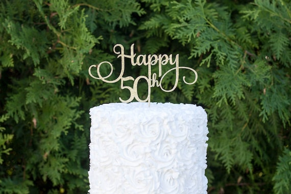 50th Birthday Party50th Cake Topper Fiftieth Decorations Happy Fifty