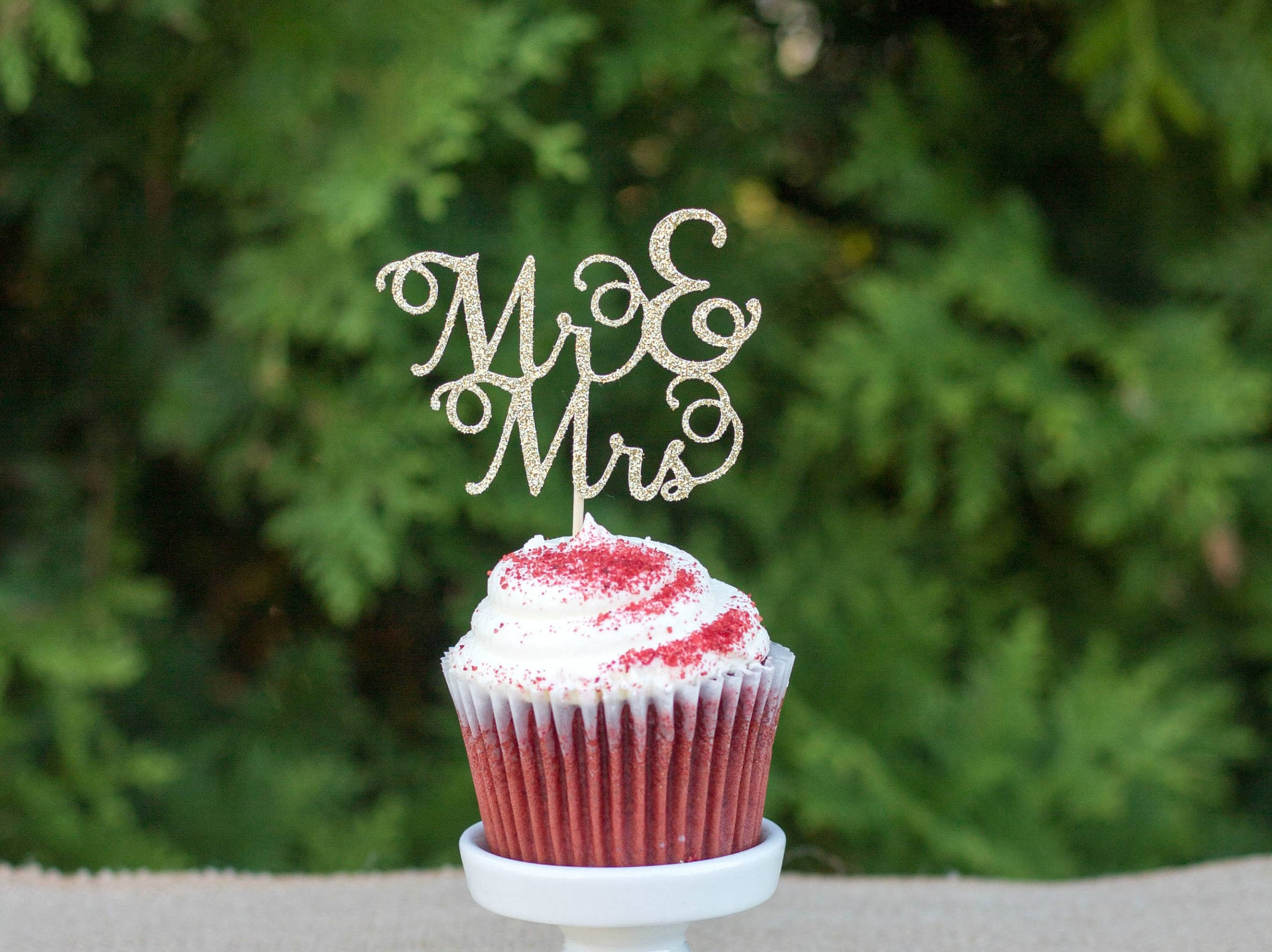 Wedding Cupcake Toppers Bridal Shower Decorations Mr Mrs Etsy