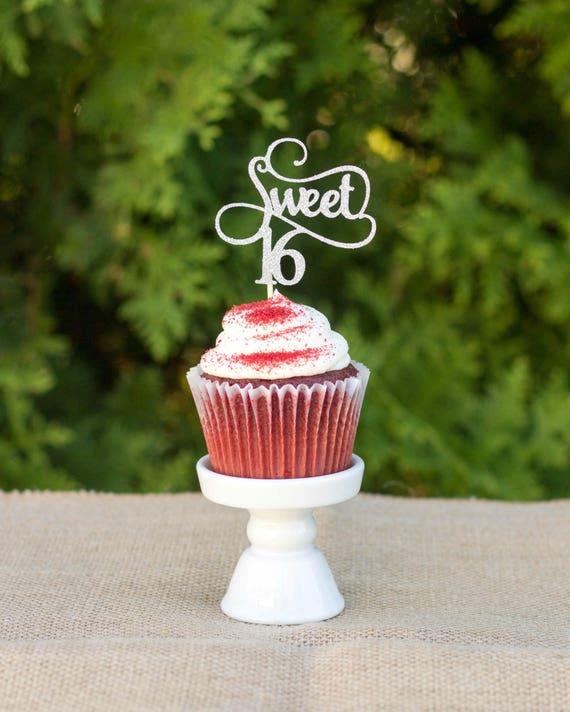 Glitter Sweet 16 Birthday Cupcake Topper Cake Pick Girl/'s Birthday Party Decor