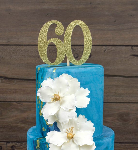 Sixty Cake Topper 60th Birthday Sixieth Decorations Party Happy
