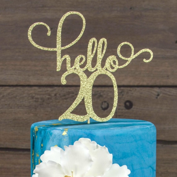Hello 20 Cake Topper Happy 20th Birthday Party Decor Twenty