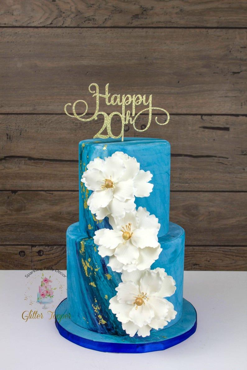 Happy 20th Birthday Cake Topper Twenty Cake Topper 20th Birthday Decor Happy 20th Cake Topper 20th Birthday Twenty Party Decor 20decor