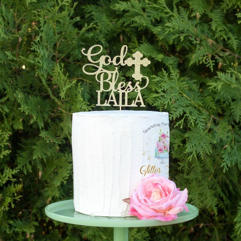 God Bless Cake Topper Baptism Cake Topper Christening Cake image 0