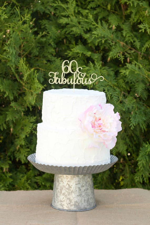 60 And Fabulous Cake Topper 60th Birthday Glitter Happy Decorations Anniversary
