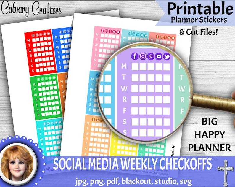 Social Media Weekly Share Checkoff List PRINTABLE Planner image 0