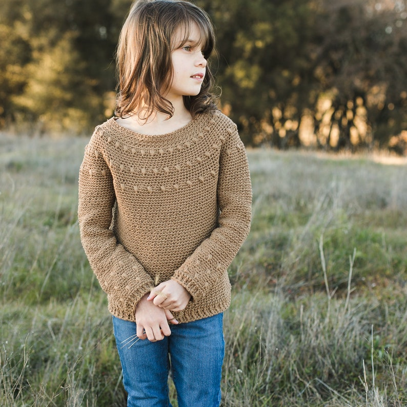 Dahlia Sweater Crochet Pattern Long AND Short Sleeve Child image 0