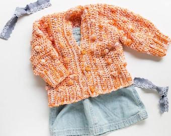 Size 6-12 Months Baby Sweater Crochet Pattern, the Lynden, Bobbles, Worked Sideways, One Size