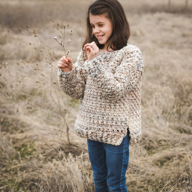 Child Crochet Sweater Pattern Super Bulky Yarn Quick Easy image 0