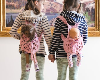 """Doll Backpack Carrier Crochet Pattern, 15"""" and 18"""" dolls, child sizes ages 2-4, 5-7, 8-10, Fabric, T-shirt, Yarn"""