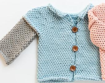 Tunisian Crochet Baby Sweater Pattern, Taytem, Sizes 3 months, 6, 12, 18 Months, Short or Long Sleeves, Gender Neutral, Unisex