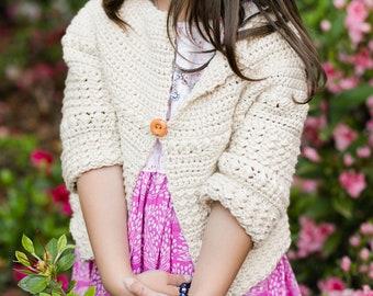 Baby, Child Sweater, Crochet Pattern, the Aunalie, Sizes 3 months, 6, 12, 18 Months, 2T, 4T