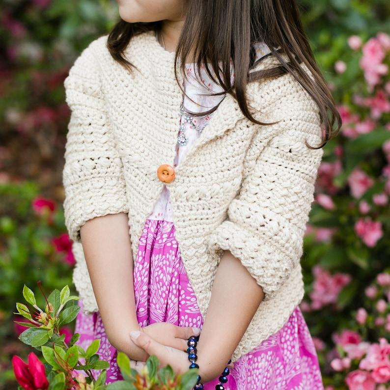 Baby Child Sweater Crochet Pattern the Aunalie Sizes 3 image 1