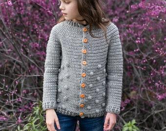 Big Kids and Teen Sweater, Crochet Pattern, Rylan Cardigan, Bobbles, Sizes 8, 10, 12, 14, 16