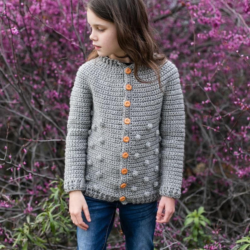 Big Kids and Teen Sweater Crochet Pattern Rylan Cardigan image 0
