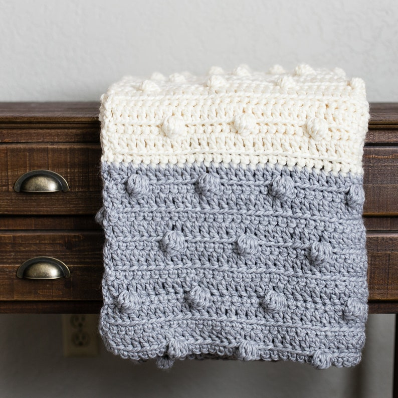 Chunky Bobble Blanket Crochet Pattern Super Bulky Yarn Throw image 0