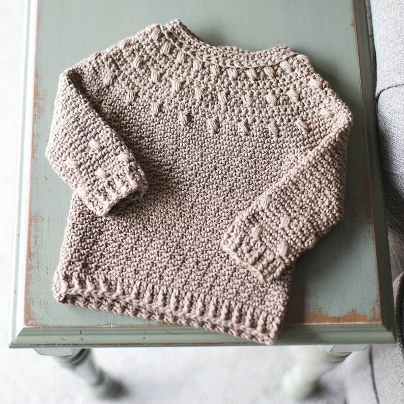 Dahlia BABY Sweater Crochet Pattern Long and Short Sleeve image 0