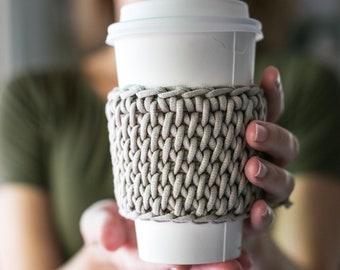 Tunisian Crochet Coffee Sleeve Pattern, Coffee Cozy with Bulky Yarn, PDF