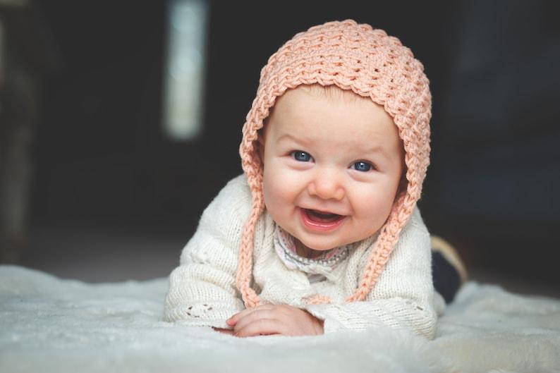 Hadlee Bonnet Crochet Pattern Newborn Baby Toddler and image 0