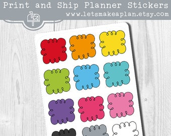 Rainbow Doodle Clouds Planner Stickers, Bright Boxes Stickers, Functional Stickers, Hand Drawn Planner Stickers