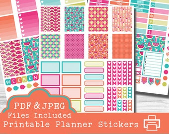 Summertime Printable Planner Stickers, Erin Condren Planner Stickers, Watermelon Stickers, Printable Stickers, Planner Stickers