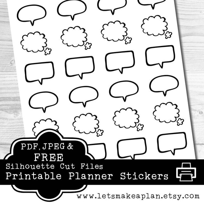 photo regarding Printable Thought Bubble titled Speech Bubble Printable Planner Stickers, Erin Condren Planner Stickers, Free of charge Silhouette Minimize Record incorporated, Idea Bubble, Strategy Stickers